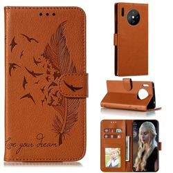 Intricate Embossing Lychee Feather Bird Leather Wallet Case for Huawei Mate 30 Pro - Brown