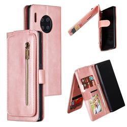 Multifunction 9 Cards Leather Zipper Wallet Phone Case for Huawei Mate 30 Pro - Rose Gold
