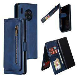 Multifunction 9 Cards Leather Zipper Wallet Phone Case for Huawei Mate 30 Pro - Blue