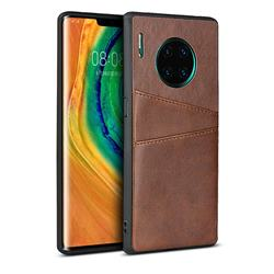 Simple Calf Card Slots Mobile Phone Back Cover for Huawei Mate 30 Pro - Coffee