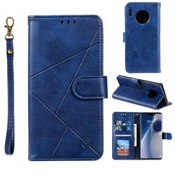 Embossing Geometric Leather Wallet Case for Huawei Mate 30 Pro - Blue