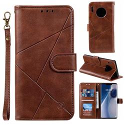 Embossing Geometric Leather Wallet Case for Huawei Mate 30 Pro - Brown