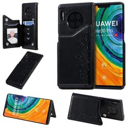 Yikatu Luxury Cute Cats Multifunction Magnetic Card Slots Stand Leather Back Cover for Huawei Mate 30 Pro - Black