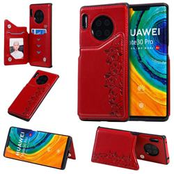 Yikatu Luxury Cute Cats Multifunction Magnetic Card Slots Stand Leather Back Cover for Huawei Mate 30 Pro - Red