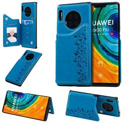 Yikatu Luxury Cute Cats Multifunction Magnetic Card Slots Stand Leather Back Cover for Huawei Mate 30 Pro - Blue