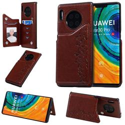 Yikatu Luxury Cute Cats Multifunction Magnetic Card Slots Stand Leather Back Cover for Huawei Mate 30 Pro - Brown