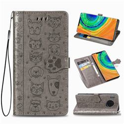 Embossing Dog Paw Kitten and Puppy Leather Wallet Case for Huawei Mate 30 Pro - Gray