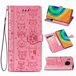Embossing Dog Paw Kitten and Puppy Leather Wallet Case for Huawei Mate 30 Pro - Pink