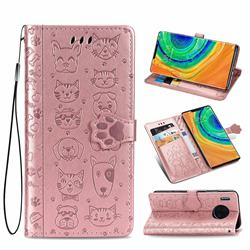 Embossing Dog Paw Kitten and Puppy Leather Wallet Case for Huawei Mate 30 Pro - Rose Gold