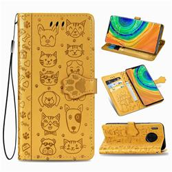 Embossing Dog Paw Kitten and Puppy Leather Wallet Case for Huawei Mate 30 Pro - Yellow