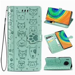Embossing Dog Paw Kitten and Puppy Leather Wallet Case for Huawei Mate 30 Pro - Green