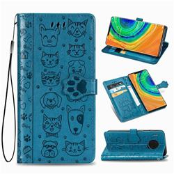 Embossing Dog Paw Kitten and Puppy Leather Wallet Case for Huawei Mate 30 Pro - Blue