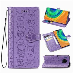 Embossing Dog Paw Kitten and Puppy Leather Wallet Case for Huawei Mate 30 Pro - Purple
