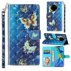 Rankine Butterfly 3D Leather Phone Holster Wallet Case for Huawei Mate 30 Pro