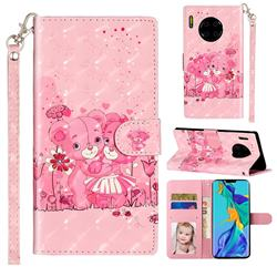Pink Bear 3D Leather Phone Holster Wallet Case for Huawei Mate 30 Pro