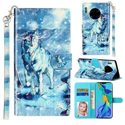 Snow Wolf 3D Leather Phone Holster Wallet Case for Huawei Mate 30 Pro