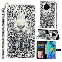 White Leopard 3D Leather Phone Holster Wallet Case for Huawei Mate 30 Pro