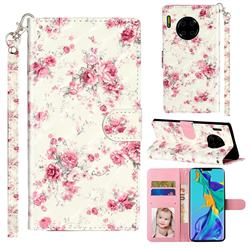 Rambler Rose Flower 3D Leather Phone Holster Wallet Case for Huawei Mate 30 Pro