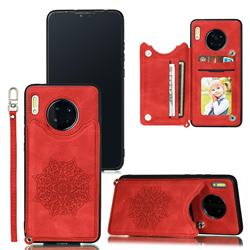 Luxury Mandala Multi-function Magnetic Card Slots Stand Leather Back Cover for Huawei Mate 30 Pro - Red