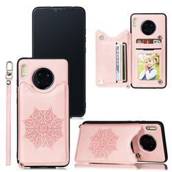 Luxury Mandala Multi-function Magnetic Card Slots Stand Leather Back Cover for Huawei Mate 30 Pro - Rose Gold