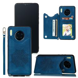 Luxury Mandala Multi-function Magnetic Card Slots Stand Leather Back Cover for Huawei Mate 30 Pro - Blue