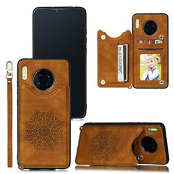 Luxury Mandala Multi-function Magnetic Card Slots Stand Leather Back Cover for Huawei Mate 30 Pro - Brown
