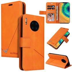 GQ.UTROBE Right Angle Silver Pendant Leather Wallet Phone Case for Huawei Mate 30 Pro - Orange