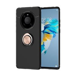 Auto Focus Invisible Ring Holder Soft Phone Case for Huawei Mate 40 - Black Gold