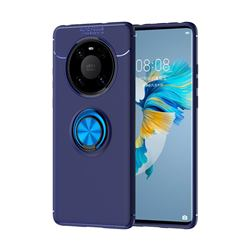 Auto Focus Invisible Ring Holder Soft Phone Case for Huawei Mate 40 - Blue