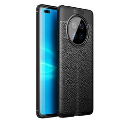 Luxury Auto Focus Litchi Texture Silicone TPU Back Cover for Huawei Mate 40 - Black