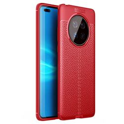 Luxury Auto Focus Litchi Texture Silicone TPU Back Cover for Huawei Mate 40 - Red