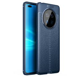 Luxury Auto Focus Litchi Texture Silicone TPU Back Cover for Huawei Mate 40 - Dark Blue
