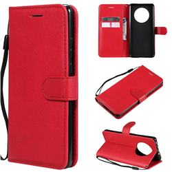 Retro Greek Classic Smooth PU Leather Wallet Phone Case for Huawei Mate 40 - Red