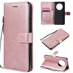 Retro Greek Classic Smooth PU Leather Wallet Phone Case for Huawei Mate 40 - Rose Gold