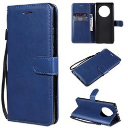 Retro Greek Classic Smooth PU Leather Wallet Phone Case for Huawei Mate 40 - Blue