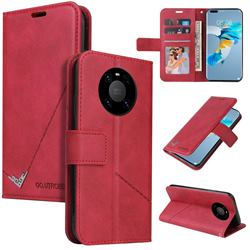 GQ.UTROBE Right Angle Silver Pendant Leather Wallet Phone Case for Huawei Mate 40 - Red