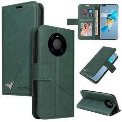 GQ.UTROBE Right Angle Silver Pendant Leather Wallet Phone Case for Huawei Mate 40 - Green