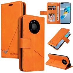 GQ.UTROBE Right Angle Silver Pendant Leather Wallet Phone Case for Huawei Mate 40 - Orange