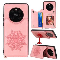 Luxury Mandala Multi-function Magnetic Card Slots Stand Leather Back Cover for Huawei Mate 40 - Rose Gold