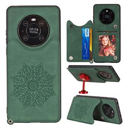 Luxury Mandala Multi-function Magnetic Card Slots Stand Leather Back Cover for Huawei Mate 40 - Green