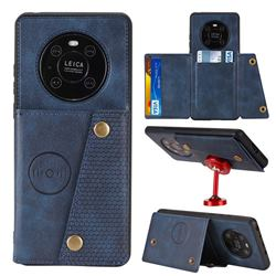 Retro Multifunction Card Slots Stand Leather Coated Phone Back Cover for Huawei Mate 40 - Blue