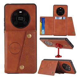 Retro Multifunction Card Slots Stand Leather Coated Phone Back Cover for Huawei Mate 40 - Brown