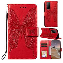 Intricate Embossing Vivid Butterfly Leather Wallet Case for Huawei Mate 40 Lite - Red