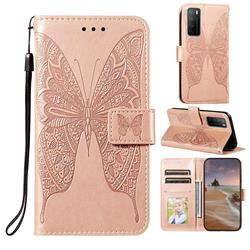 Intricate Embossing Vivid Butterfly Leather Wallet Case for Huawei Mate 40 Lite - Rose Gold