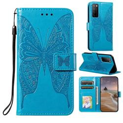 Intricate Embossing Vivid Butterfly Leather Wallet Case for Huawei Mate 40 Lite - Blue