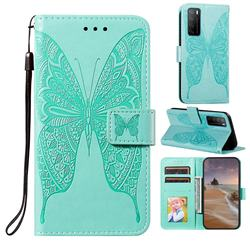 Intricate Embossing Vivid Butterfly Leather Wallet Case for Huawei Mate 40 Lite - Green