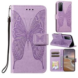 Intricate Embossing Vivid Butterfly Leather Wallet Case for Huawei Mate 40 Lite - Purple