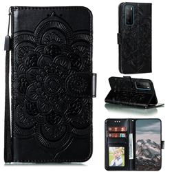 Intricate Embossing Datura Solar Leather Wallet Case for Huawei Mate 40 Lite - Black
