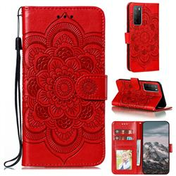 Intricate Embossing Datura Solar Leather Wallet Case for Huawei Mate 40 Lite - Red