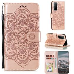 Intricate Embossing Datura Solar Leather Wallet Case for Huawei Mate 40 Lite - Rose Gold